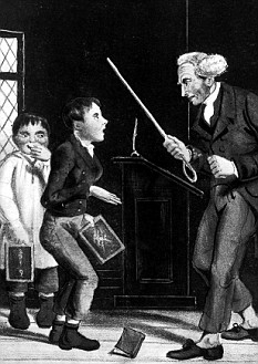 'The Brutal Schoolmaster': An Illustration re. corporal punishment of schoolmaster about to adminster a beating to two pupils. 21st April, 1860.