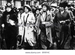 Image of leader Emmeline Pankhurst and other suffragettes