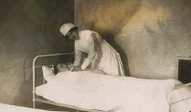 A nurses bed in the infirmary