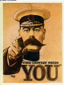 Figure 1 'Your Country Needs You' Army Poster for WW1, to attract young men to the army.