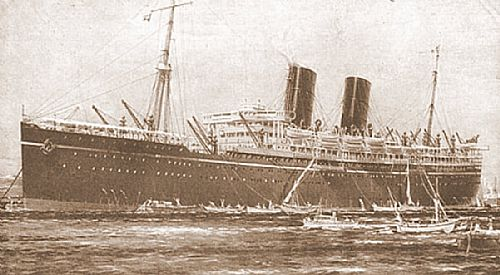 A photo of the SS Rawalpindi, which later became the HMS Rawalpindi operant as a merchant warship and was sunk in action