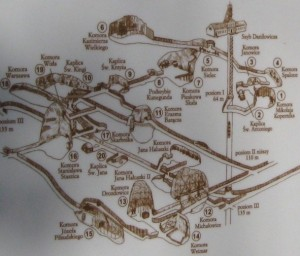 Map of the Wieliczka Salt Mine in Poland that Cain visited.