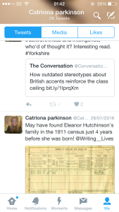 Screenshot from my Writing Lives twitter account @Catrionap1994