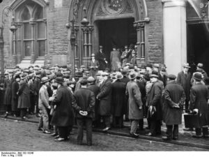 Queues outside the Employment Exchange during the Great Depression