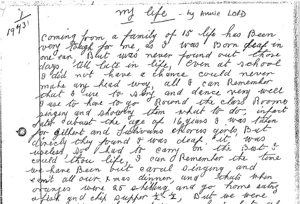 Annie Lord, born 1899: Transcript of 'my life' – Writing Lives